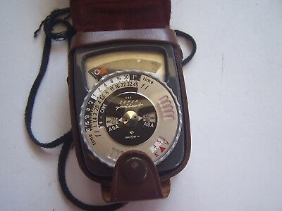 Vintage Camera Light Meter with Leather Case Super Pilot Goffen Accessory