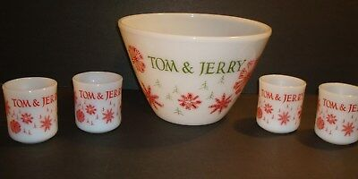 Vintage FIRE KING Tom & Jerry Punch Bowl and Cups Parties Holiday Seasons