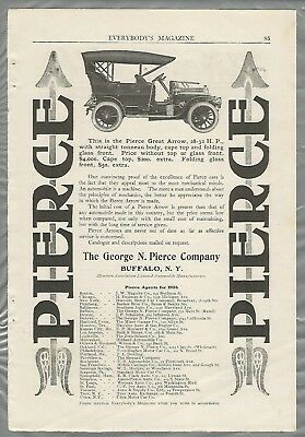 1906 PIERCE Great Arrow advertisement, Touring Car , top up, from 1906 magazine