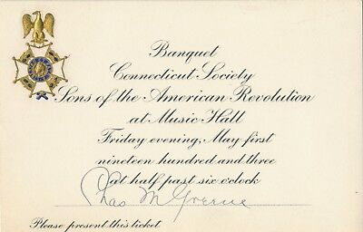 1903 Connecticut Society Sons of American Revolution Banquet Invite Chas. Greene