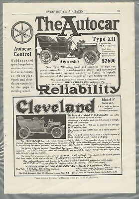 1906 AUTOCAR and CLEVELAND advertisements, 2 smaller ads from 1906 magazine