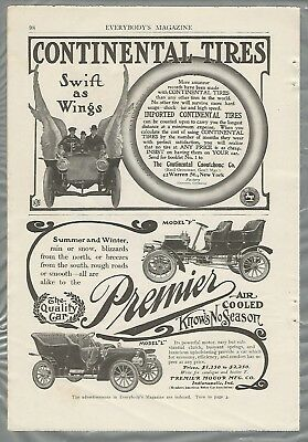 1906 PREMIER and CONTINENTAL TIRES advertisements, 2 ads from 1906 magazine