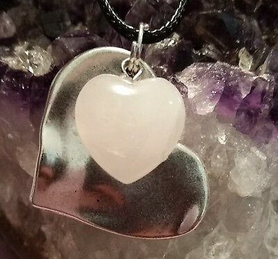 Wow -  New Double Silver Plated Heart Pendant With Rose Quartz Gemstone