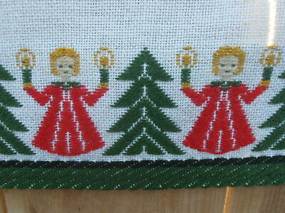 Swedish Scandinavian Wool Woven Table Runner Angels Candles Tree Christmas 50X16