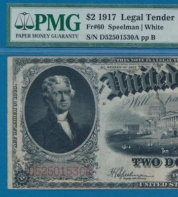 $2.00 Fr.60 1917  Red Seal Legal Tender United States Note  Certified  Pmg Vf30