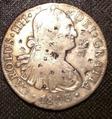1803 Mexico 8 Reales Silver Coin With Chop Marks Early World Currency