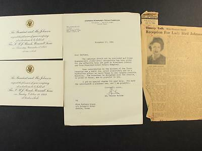 Two 1964 Lyndon B. Johnson Ranch Barbecue Invitations + 1964 Campain Letter~