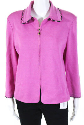 St. John Collection By Marie Gray Womens Zip Jacket Pink Size 14 LL19LL