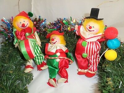 Lot Vintage RUSS Christmas Ornaments Circus CLOWNS Drummer-Hula Hoop-Balloon Man