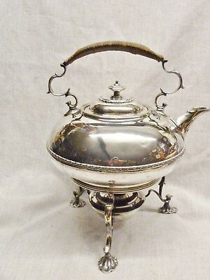 high quality spirit kettle and burner by elkington b'ham art nouveau shape c1910
