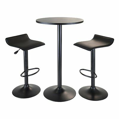 Winsome Trading Obsidian 3 Piece Pub Table Set, Black, 1