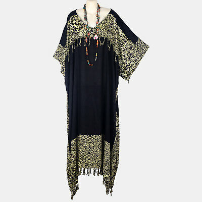 K21595 New Black Abstract Caftan Hippy Long Boho Dress Plus Size Womens 3X 4X 5X