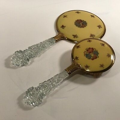 VTG Antique Dresser Vanity Hair Brush Beveled Mirror Celluloid Glass Handle 49b