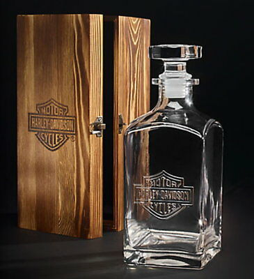 Genuine Harley Davidson 32 Oz Whiskey Decanter With Wood Box Limited Edition