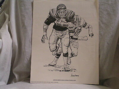 1981 Pair Of Drawings Of Archie Griffin Heads Up Field, By Shell Oil Co