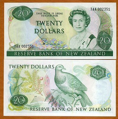 New Zealand, $20, P-173a, 1981-1985, QEII, UNC > Rare, First Prefix, Lower S/Ns