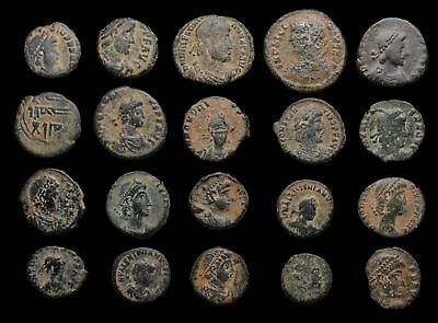 Lot of 20 Ancient Coins with sand patinas, mostly late Roman, 1 Islamic