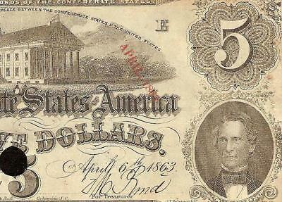 1863 $5 Misplaced Date Error Confederate States Currency Civil War Money T-60