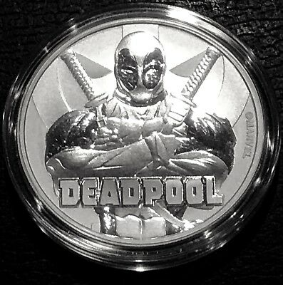 "2018 Tuvalu 1 Oz Silver $1 Marvel Series ""deadpool"" Bu - In Capsule .9999 Fine"