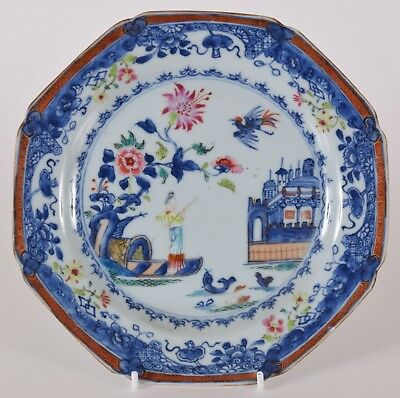 Qianlong Chinese Export Porcelain Octagonal Plate Fishing Polychrome Blue White