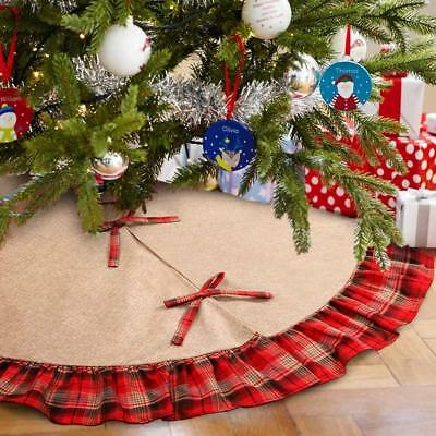 Ruffled Christmas Tree Skirt 48 Inches, Red Plaid Christmas Burlap Tree Skirt