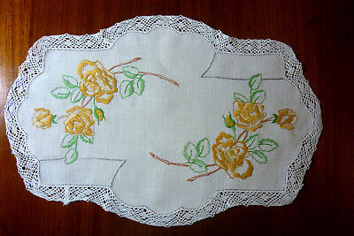Beautiful Linen Hand Embroidered Doily Lace  Edge Yellow Flowers 45 X 29 Cm  Vgc