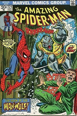 Amazing Spider-Man # 124 - 1St Appearance Of Man-Wolf - Key - Cents Copy