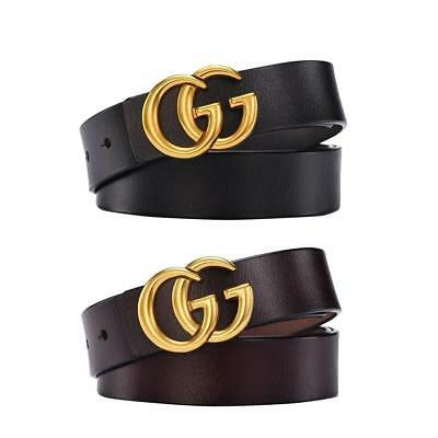 1.1in Fashion Female Double G Buckle Leather Retro Simple Thin Belt All-Matched