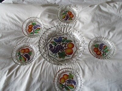 Antique Goofus Glass Intaglio Fruit Bowl And Dishes Cold Painted Grapes & Fruit
