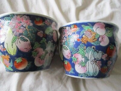 Pair Of Antique Vintage Signed Chinese Goldfish Bowl Handpainted Planters Bowls