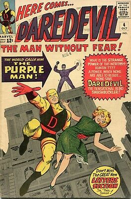 Daredevil # 4 - 1St Appearance Of The Purple Man - Cents Copy - Rare In Uk