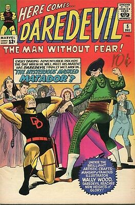 Daredevil # 5 - New Costume - 1St Matador - Wally Wood Art - Kirby Cover - Cents