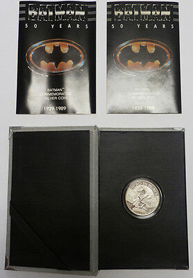 Batman Commemorative Silver Coin 50 Year Dc Comics Movie Film Moneta