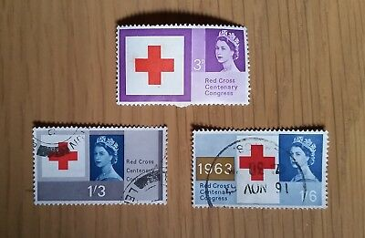 Complete British used stamp set - 1963 Red Cross Centenary Congress