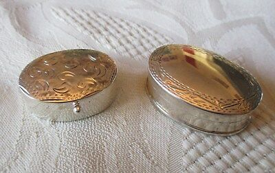 2 x Solid sterling silver 925 miniature Pill boxes