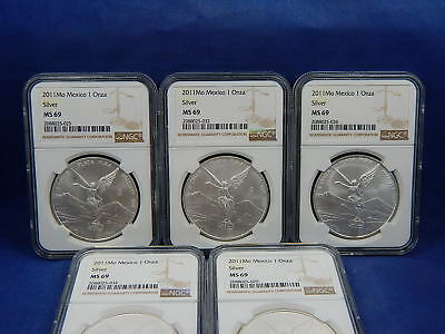 5 X 2011 Mo 1 OZ NGC MS69 SILVER UNC ONZA or LIBERTAD of MEXICO WHITE 5 COINS!
