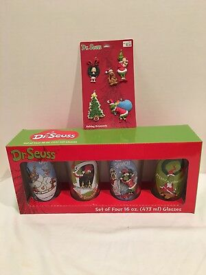 Dr Seuss The Grinch Pint Glasses And Ornaments Nib