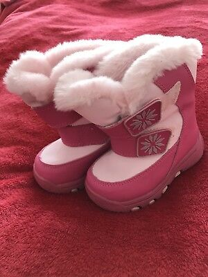 Baby Girls Cougar Winter Snow Boots Pink Size 6 Months Pink Fluffy Warm Lining