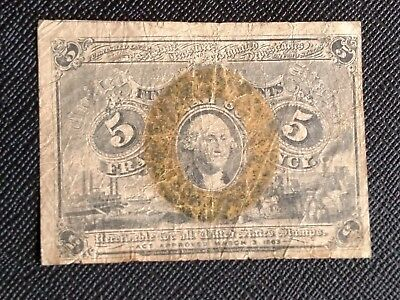 5 CENT FRACTIONAL CURRENCY UNITED STATES NOTE PAPER MONEY Fr 1233
