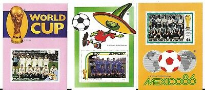 Mexico 86 World Cup Unused/uncut Football Stamps>Uruguay,spain,russia Teams