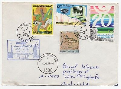 1976 TUNISIA First Flight Cover TUNIS Direct to WIEN AUSTRIA