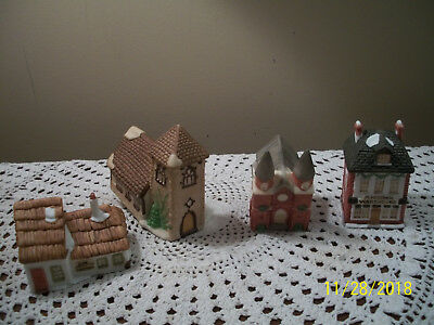 FOUR Dept 56 1980's Bisque Light Up Miniature Houses Dickens Village Series Abby