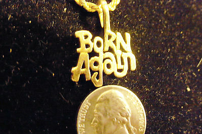 bling gold plated christian born again fashion pendant charm necklace jewelry gp