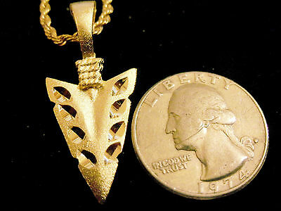 bling gold plated INDIAN tribal arrowhead FASHION pendant charm necklace JEWELRY