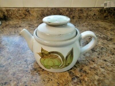Denby Troubadour Stoneware Small Teapot Height 4.5''  Hand Painted Discontinued