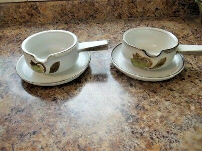 Denby Stoneware Troubadour Gravyboats X2 + Saucers-Hand Painted -Discontinued