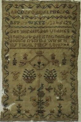 SMALL EARLY 19TH CENTURY MOTIF & QUOTATION SAMPLER BY MARY LACEY - c.1830