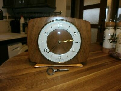VINTAGE SMITHS TEAK MANTEL 8 DAY CLOCK,1950/60s,PERFECT WORKING ORDER