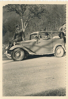 WWII 1940s German soldiers  Photo #6 officer on hood of small car