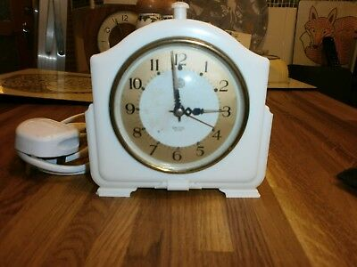 VINTAGE ART DECO SMITHS ELECTRIC ALARM CLOCK IVORY BAKELITE 1930/40s WORKING